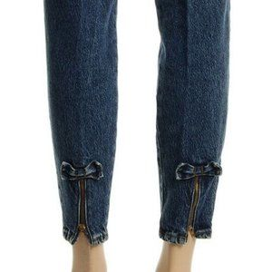 Vintage Acid Washed Jeans with Ankle Bows